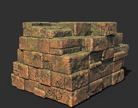 Low poly Terracotta Ruin Medieval Construction 01 3D asset