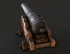 Old Iron Naval Cannon 3D asset game-ready