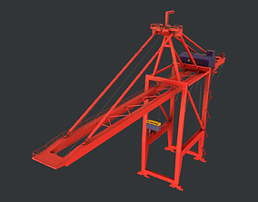 3D model PBR Quayside Container Crane Version 1- Red