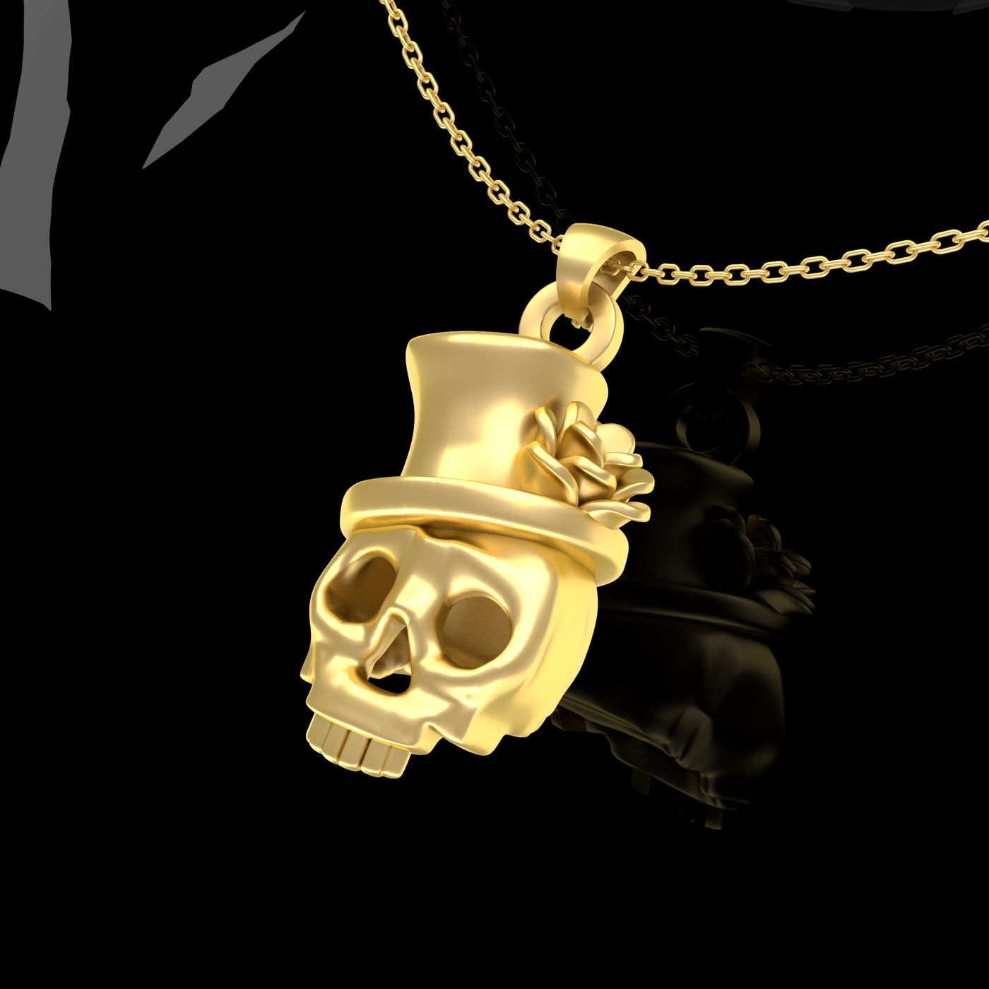 Rose hat skull pendant jewelry Gold 3D print model
