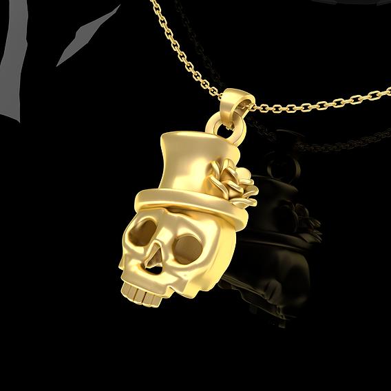 Rose hat skull pendant jewelry Gold 3D print model