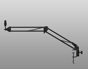 Rigged Desktop Microphone Pantograph 3D model