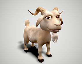 3D asset animated cartoon goat