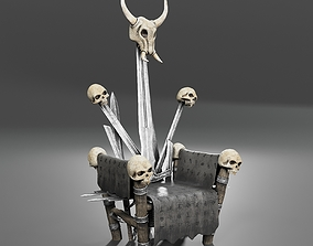 3D model Throne of Viking Leader with Runes and Skulls