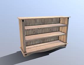 3D asset Pine Bookshelf