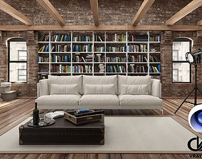 Loft Living Room C4D Vray 3D model