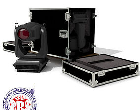 3D model Flight case with Spot moving heads