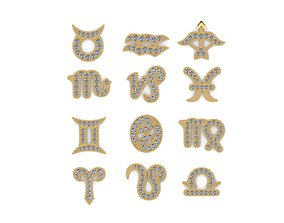 3D print model zodiac signs gold earrings