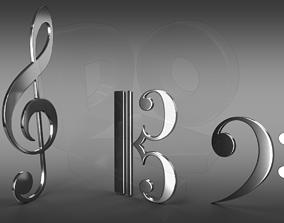 shape Musical clefs 3D model