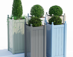3D Timber tall classic planter garden