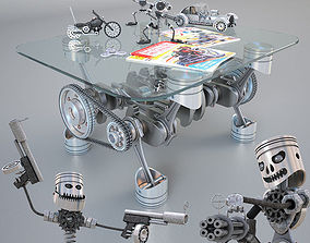 Decorative set piston brothers and table 3D model