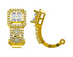 Elegant square shape earrings for women 3D print model 2