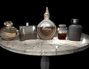 Perfume bottles set 3D asset
