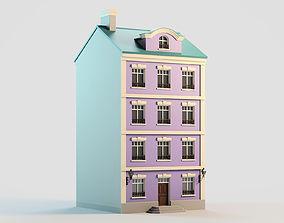 3D asset Colorful town building 1