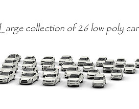 Large collection of 26 low poly cars 3D asset