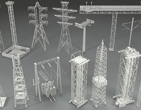 3D model Electric Towers - 17 pieces