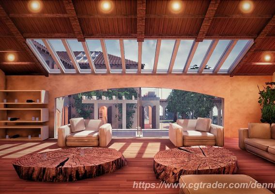 Low Poly Spanish Modern Modular Villa Assets