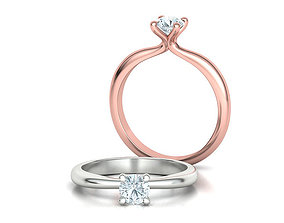 Solitaire Ring 4Claw design 5mm Stone 3dmodel