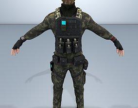 Charachter Marine Comander-Low poly 3D model