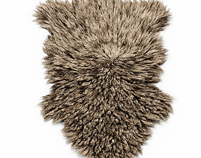 Bedside Sheepskin Rug Fur 3D model