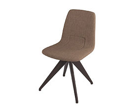 Chair TORSO 837-I POTOCCO Brown linen and dark brown 3D