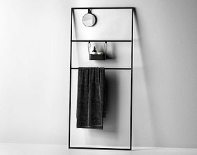 3D model Coco Towel Rail Rack with Mirror and Bath