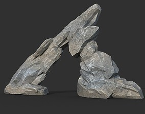 3D asset Low poly Gray Rock Formation 05 190421