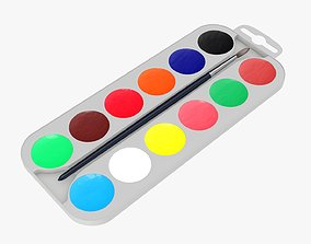 Paint watercolor set 02 3D model