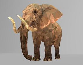 3D asset Elephant Low Polygon Art African Animal