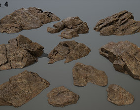 3D asset desert rock set 4