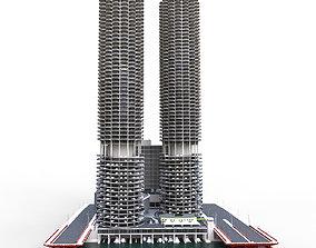 Marina city Goldberg Chicago lowpoly 3D model