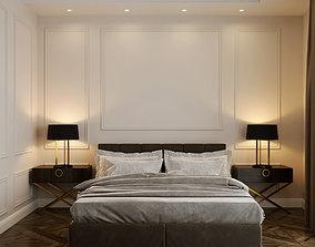 Master bedroom interior 3D wood