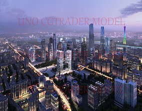 Nightscape of Guangzhou City in China 3D model