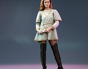 Open Back Medieval Dress Fishnet Girl in Kneehigh 3D model