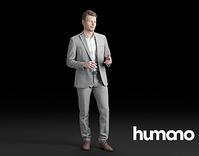3D Humano Elegant Man in suit Standing and talking 0313