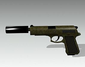 3D model game-ready gun pistol