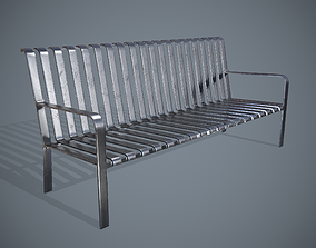 Metal Bench 3D asset game-ready
