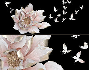 3D model HP Decor Wall Decor Flower and Butterfly 2