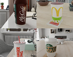 Fast food Cups - 4 Realistic PBR Cups 3D