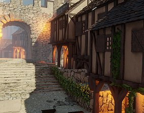 3D model medieval town AOE style