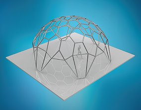 hexadome hexagonal dome with glass and wire frame 3D
