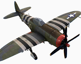 United States fighter aircraft Republic P-47 3D model