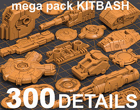 3D Mega Pack Hard Surface Kitbash 300 DETAILS