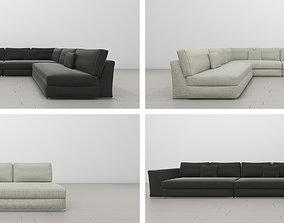 3D model UrbanMod Modern Reversible Sectional Sofa Gray 1