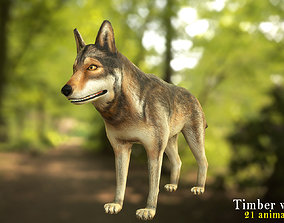 Timber wolf character 3D asset animated