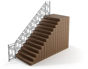 3D model Black Railing With Brown Stairs
