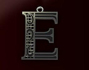 symbol 3D printable model Alphabet Pendant