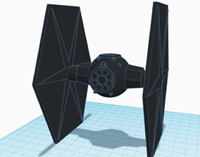 Low-Poly Tie Fighter 3D print model