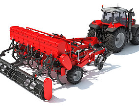 Tractor with Seed Drill tractor 3D