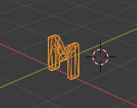 3D asset low-poly letter M